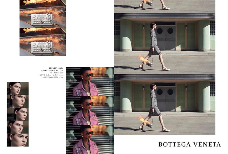 Lángoló luxustáskát cipel a Bottega Veneta modellje.