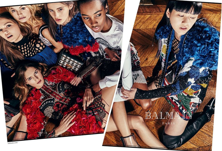 Osztott képpel dolgozott a Balmain, ahol a divatház vezető tervezője, Olivier Rousteing készítette a kampányképeket.