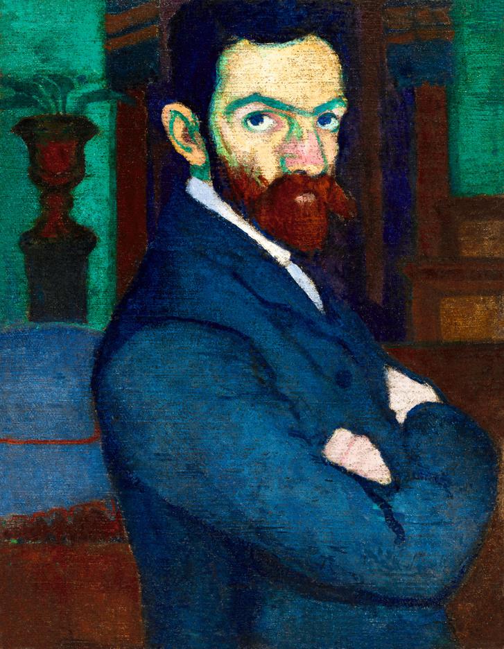 ZIFFER SÁNDOR (1880-1962) Önarckép zöld falú nagybányai műteremben, 1907 körül Olaj, vászon, 60,5 x 46,5 cm