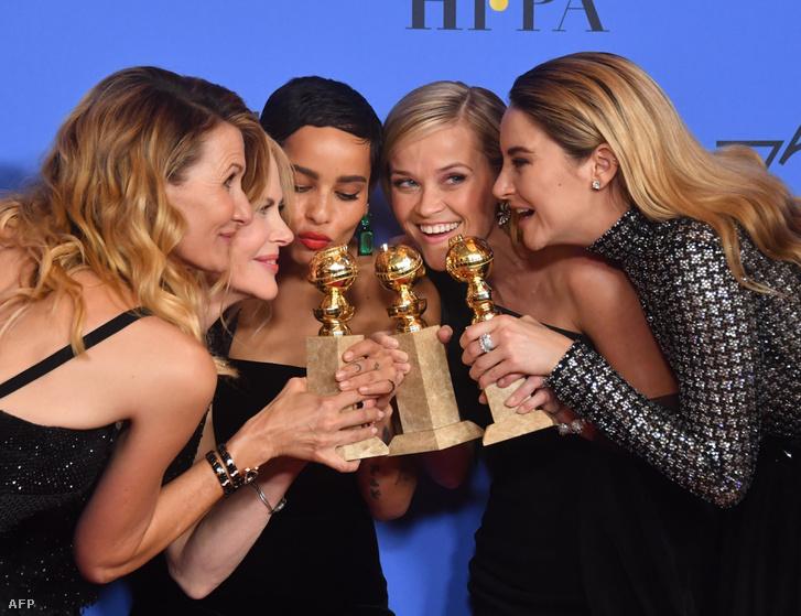 Laura Dern, Nicole Kidman, Zoe Kravitz, Reese Witherspoon és Shailene Woodley a Golden Globe díjátadón 2018. január 7-én