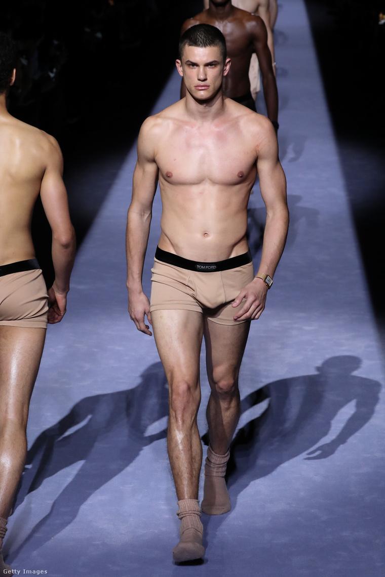 Mindegyiken egy (vagy több) szálkásan izmos férfimodell van, alsónadrágban és zokniban.