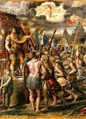 Constantinus látomása, Raffaello Sanzio: In hoc signo vinces (freskó részlet)