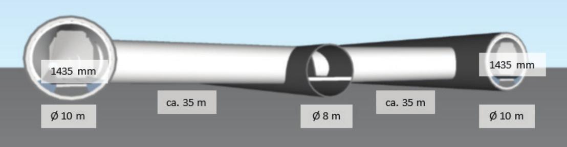 Két párhuzamos, szervizalagutakkal összekötött csőben futnának a vonatok
