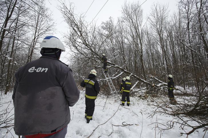 Tűzoltók dolgoznak a hóesés miatt a villanyvezetékre dőlt fa eltávolításán Rédics és Szijártóháza között az erdőben 2018. február 8-án.