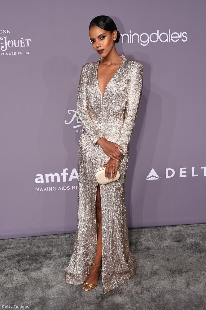 Ezüst ruha és arany szandál a kanadai modellen, Grace Maharyn