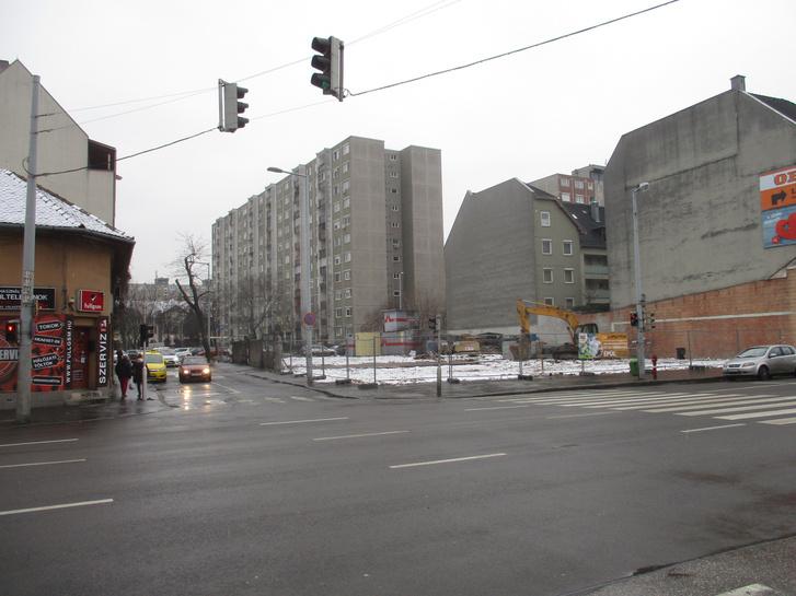 Az Árpád út 93. üres telke 2018 februárjában