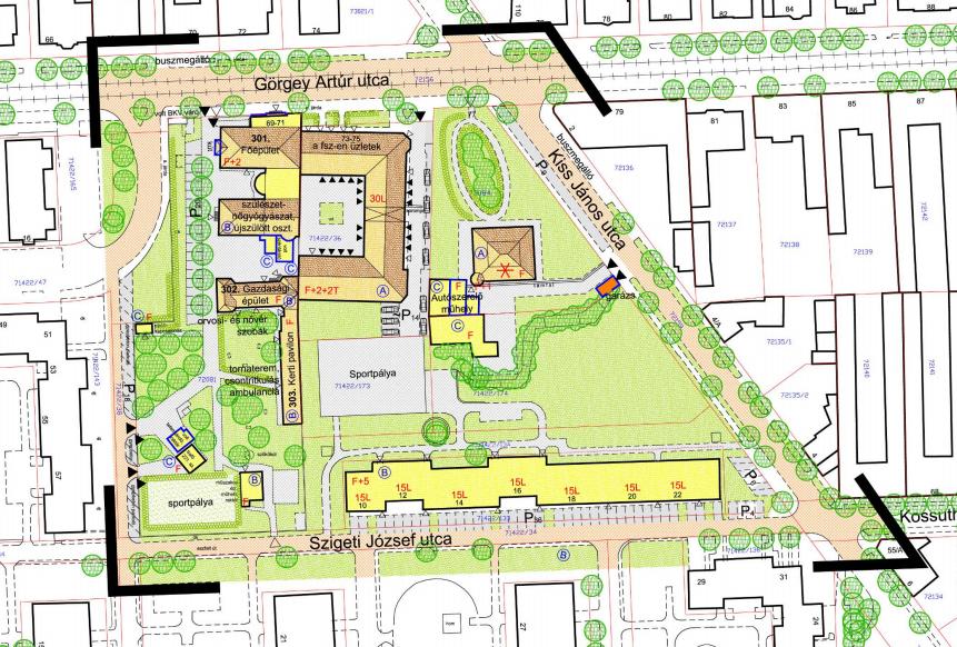 A 2012-es állapot. A tervezési terület bal alsó részén van az egykori szülőotthon kertje. Teljes térképért és jelmagyarázatért katt a képre