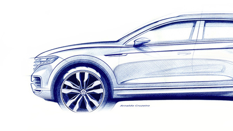 Gyári rajzon a következő VW Touareg