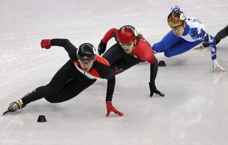 Elől Liu Shaolin Sándor, mögötte a kanadai Samuel Girard és az orosz Szemjon Jelisztratov.