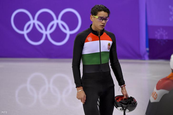 Liu Shaolin Sándor a phjongcshangi téli olimpia rövidpályás gyorskorcsolya-versenyének féfi 1500 méteres döntője után a Kangnung Jégcsarnokban 2018. február 10-én. A magyar versenyző az ötödik helyen végzett.