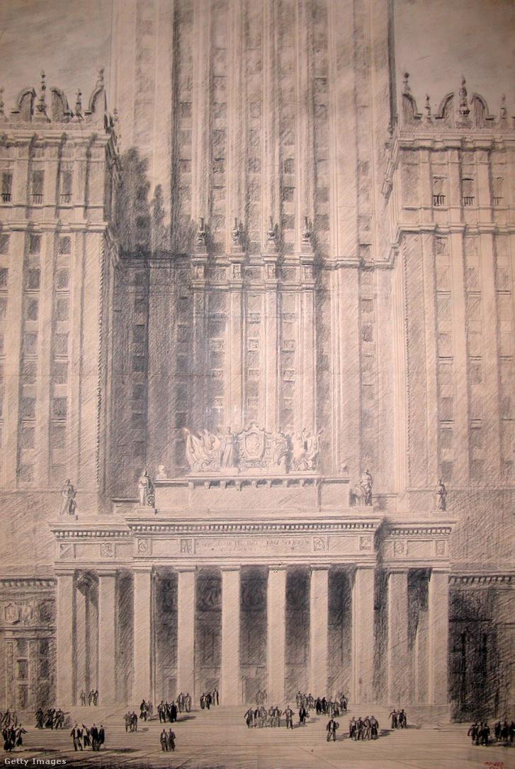Lev Vladimirovics Rudniev látványrajza az épület fő homlokzatáról