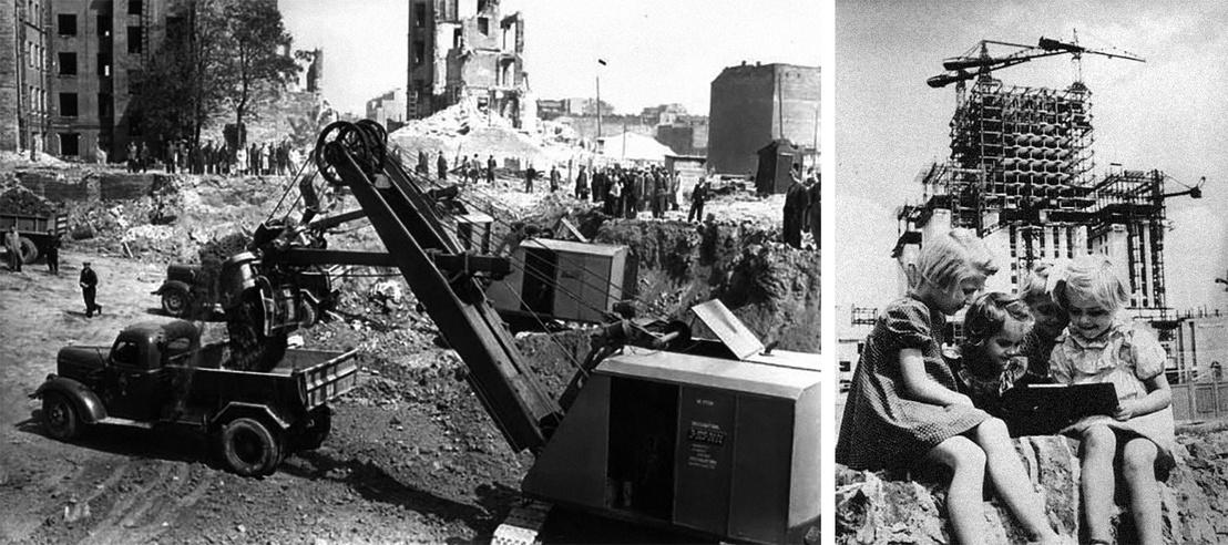 """A palota építési helyének """"megtisztítása"""" a romos épületektől. Az építkezés miatt a háború előtti Varsó belvárosának egy jelentős részét nem állították helyre, hanem inkább elbontották. // Propagandafotó: az új generáció és a város új szimbóluma."""