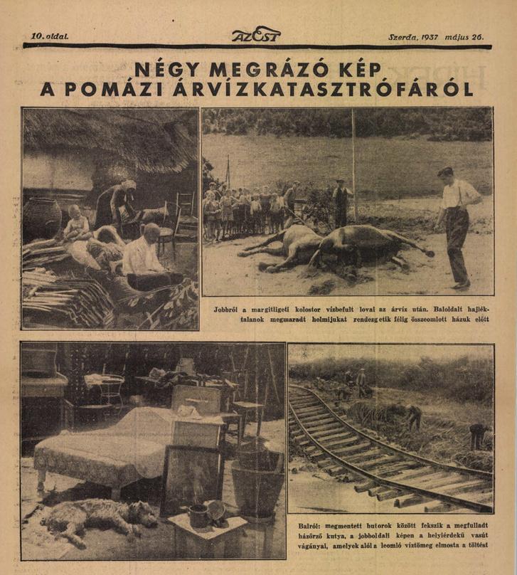 Az 1937-es pomázi árvíz okozta pusztulás képes beszámolója