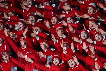 Az észak-koreai szurkolócsapat