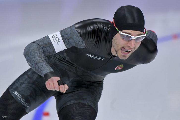 Nagy Konrád gyorskorcsolyázó a phjongcshangi téli olimpia 1500 méteres versenyének selejtezőjében