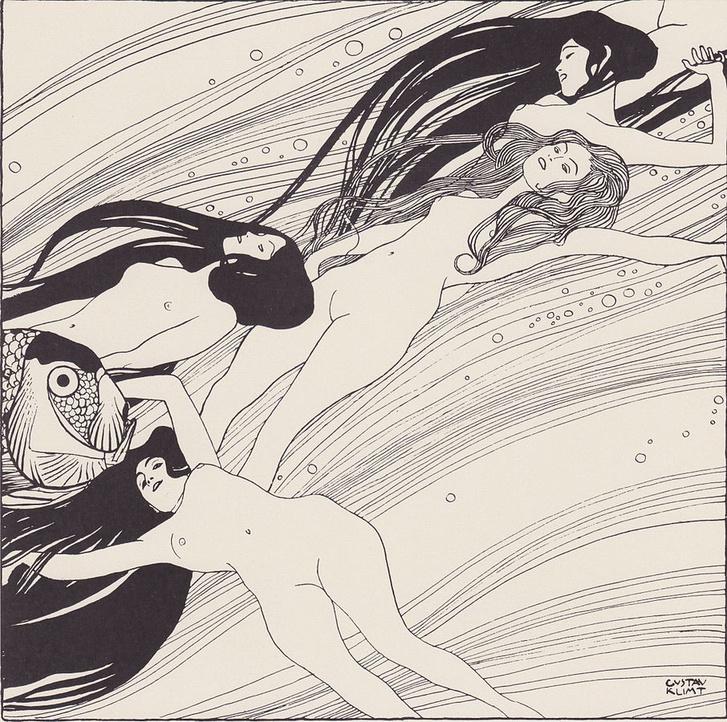 Illusztrációnk Klimt 1898-es Halvér című alkotása. A cikkben szereplő Klimt-rajzról sajnos nincs képünk.