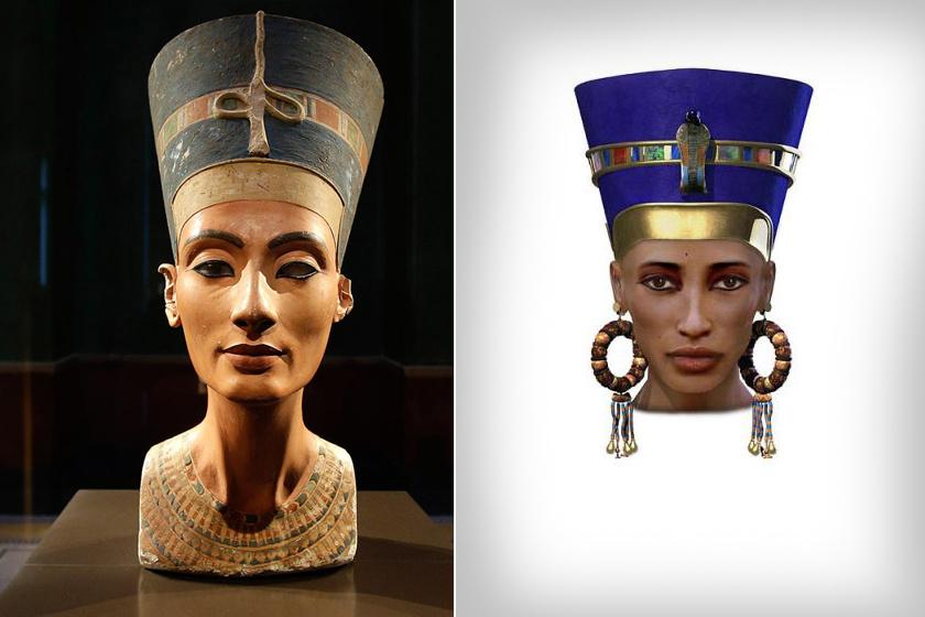 Balra Nefertiti mellszobra, az egyik legismertebb ókori egyiptomi alkotás, jobbra pedig egy korábbi számítógépes rekonstrukció.