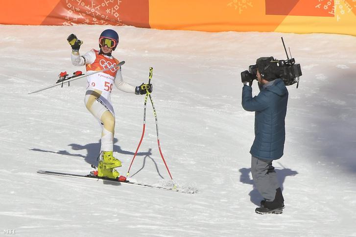Kékesi Márton a phjongcshangi téli olimpia férfi alpesi sízők kombinációs versenye lesiklás futamában a Dzsongszon Alpesi Központban 2018. február 13-án.