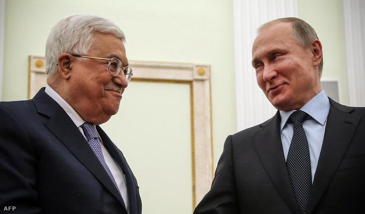 Putyin utolsó nyilvános szereplésén február 12-én Mahmúd Abbász palesztín vezetővel.