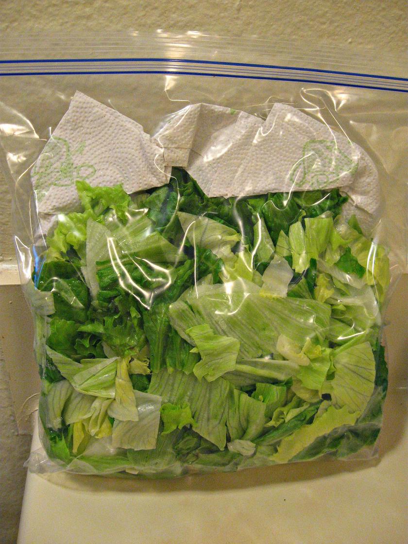 Egy darab papírtörlőnek köszönhetően napokkal tovább frissek maradnak a salátafélék. A zacskójukba téve felszívja a párát és a nedvességet.