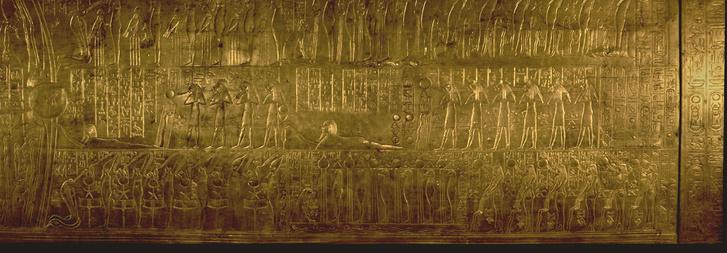 tutanhamon sírjában a második legnagyobb kápolna falát a Holtak Könyvéből vett jelenetekkel díszítették.