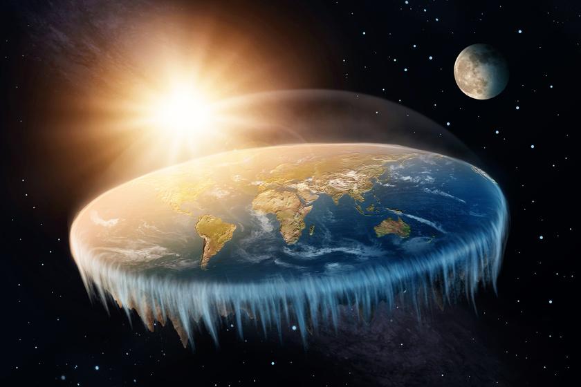 Egy nem teljesen helytálló ábrázolása a lapos Földnek: a víz a korong közepén összpontosulna.
