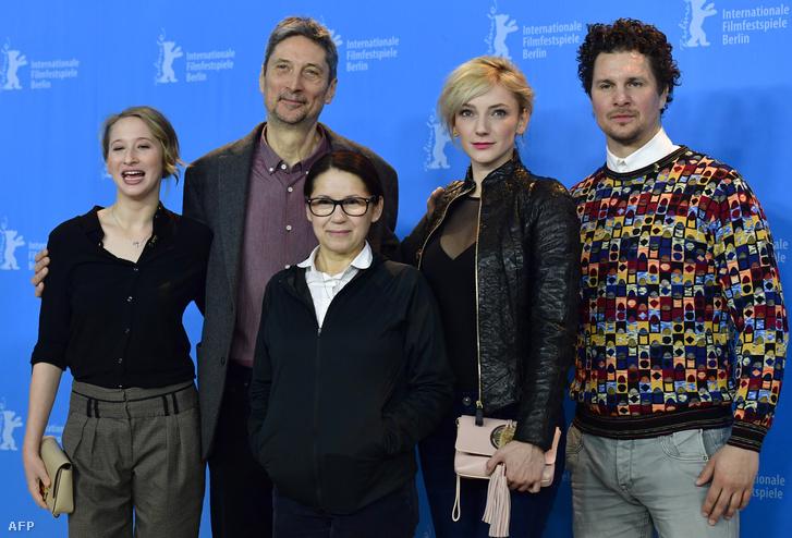 Tenki Réka, Morcsányi Géza, Enyedi Ildikó, Borbély Alexandra, és Nagy Ervin a Testről és lélekről 2017-es premierjén a Berlinalén.