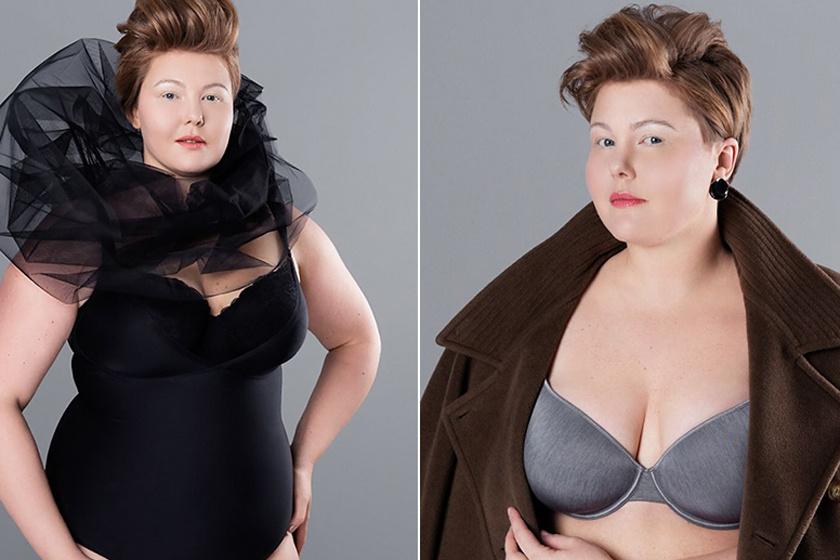 Fehérneműben mutatja meg magát a telt nő - Különleges fotók