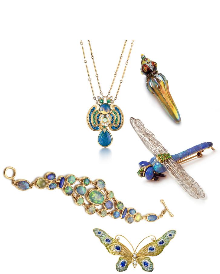 Az üveget, drágaköveket és a zoméncot felhasználva Louis Comfort Tiffany a természetet és az egzotikus kultúrákat idézte fel. Opál szitakötők, gránát bogyók és az ókori Egyiptom vagy India mintái bukkannak elő munkáiban.