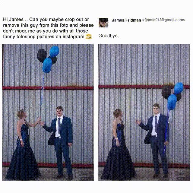 A képet beküldő lány arra kérte Jamest, hogy szedje le a fiút a képről, de ne csináljon viccet belőle. Csak az első kérése teljesült.