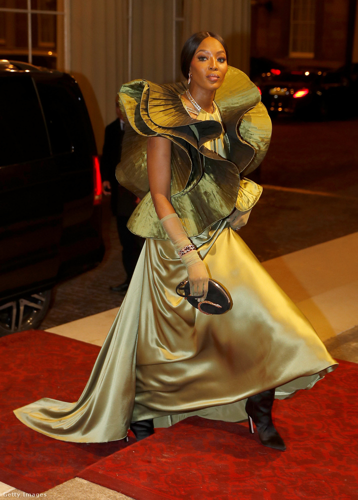 Nem hiányozhatott többek között Naomi Campbell sem, aki tetőtől talpig aranyfodrokban érkezett a palotába.
