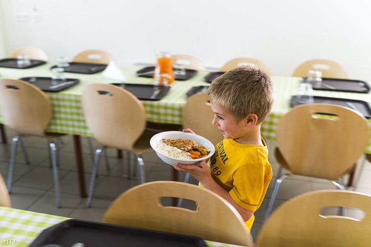 Hajdinás rántott halat és párolt zöldséget visz asztalához egy diák a nyíregyházi Görögkatolikus Általános Iskola ebédlőjében 2014. május 9-én.