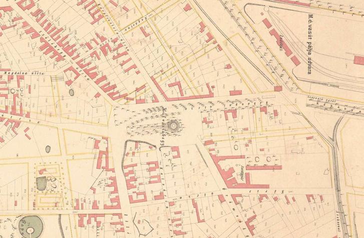 A Kálvária tér és környéke Pest belterületének 1872-es rendezési térképén. A tervek szerint a Nap utca egészen a térig húzódott volna
