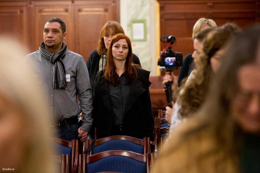 Renner Erika és élettársa, Balogh Attila az ítélethirdetésen
