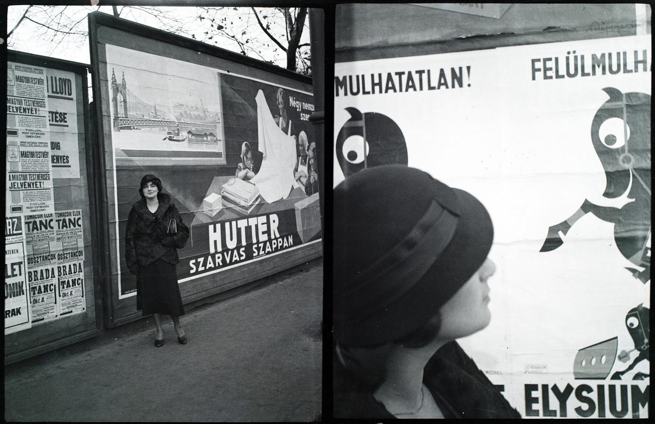 Kurtz Guszti és elegáns kalapja Budapest különböző reklámplakátjai előtt.