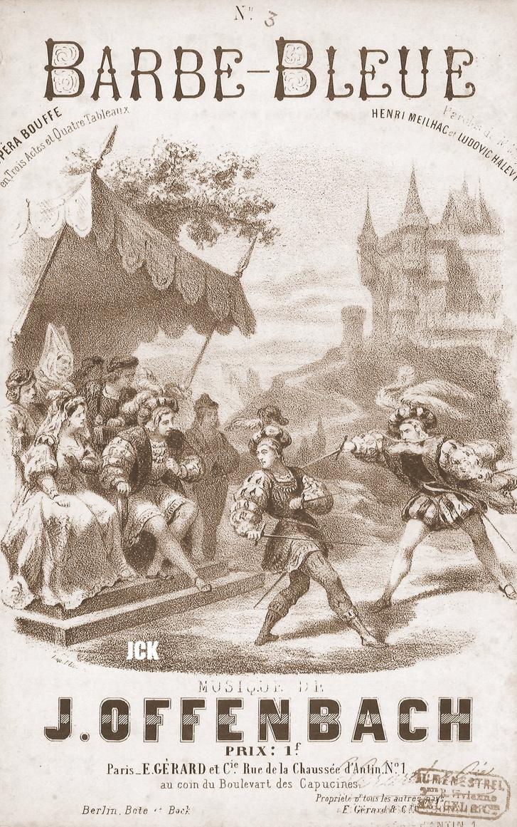 Offenbach Kékszakáll c. operettjének korabeli plakátja