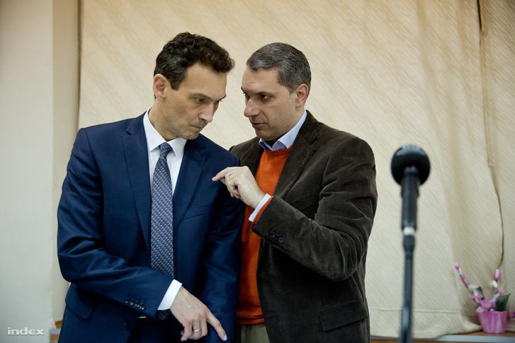 Hegedűs Zoltán és Lázár János az időközi választás előtt tartott lakossági fórumon 2018 február 8-án