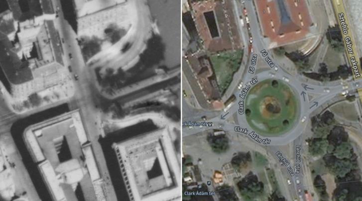 A Clark Ádám tér egy 1944-es és egy néhány éve készült légi fotón