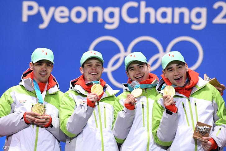 A magyar férfi gyorskorcsolyaváltó megszerezte az első magyar aranyat a téli olimpiák történetében