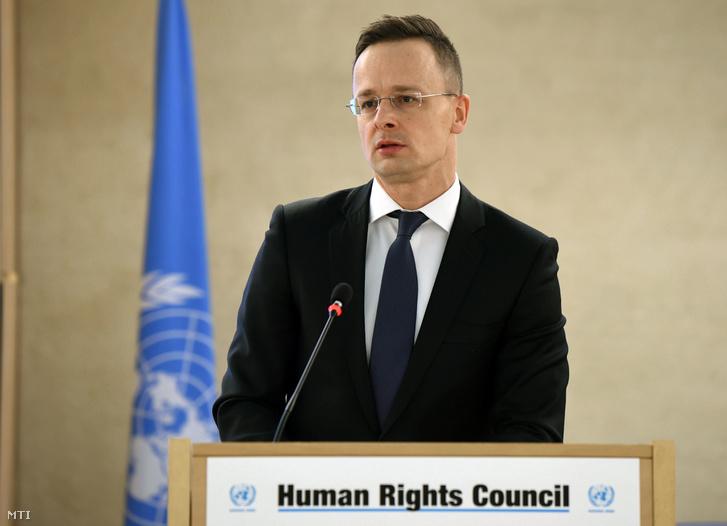 Szijjártó Péter az ENSZ Emberi Jogi Tanácsának tavaszi ülésszakán a genfi ENSZ-palotában 2018. február 26-án