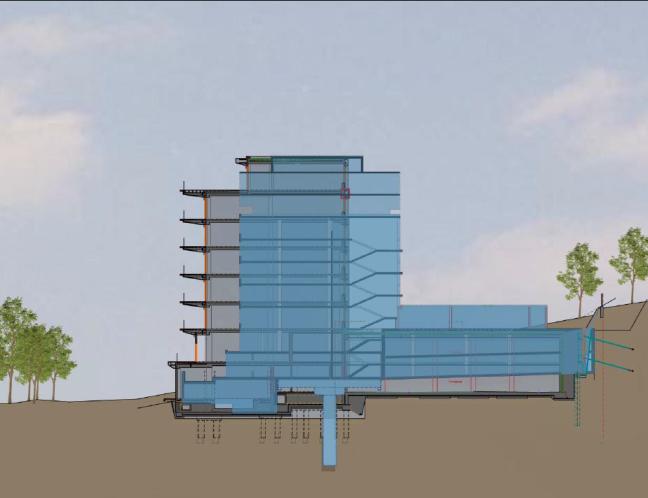 A kékkel jelölt épület az eredeti, 71-ben átadott SZOT-üdülő sziluettje, tetején az étteremmel, a szürke pedig az új épületé