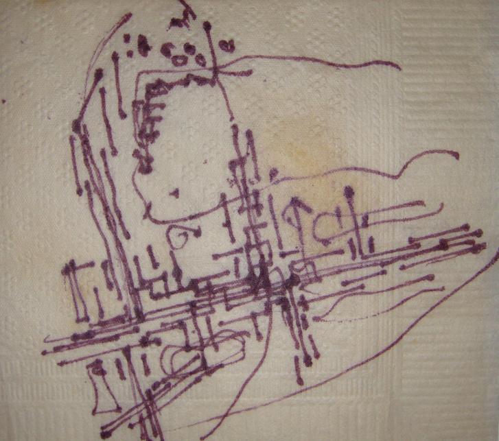 A Káposztásmegyeri lakótelep koncepciója a TTI ebédlőjének pecsétes szalvétáján