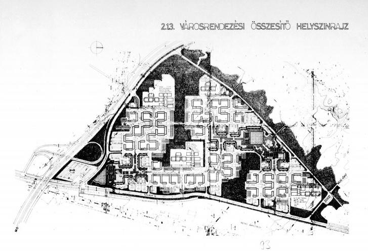 Káposztásmegyer városrendezési terve 1981-ből. Kisebb eltérésekkel ez a terv valósult meg, de pl. a képen balra, az Óceánárok utca vonalában látható M0-s autópálya távolabb épült meg.