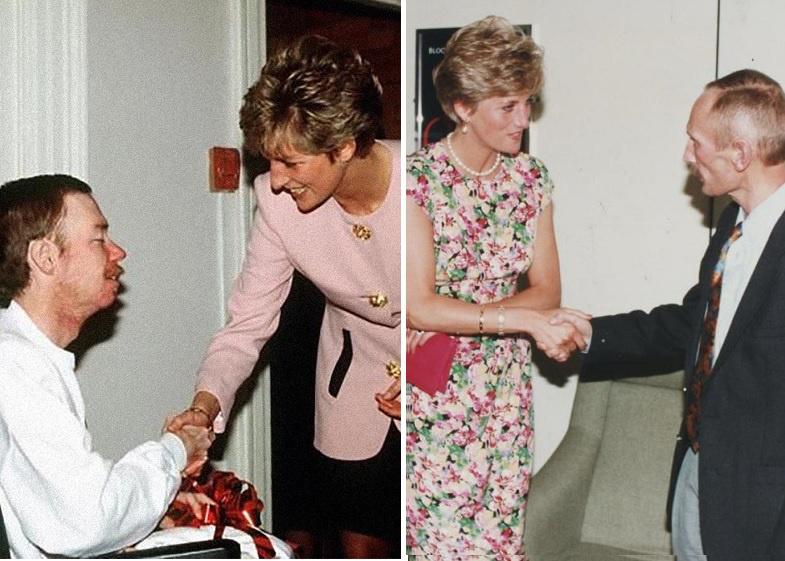 Ladi Di AIDS-ben szenvedőket látogat, és fogja a kezüket.