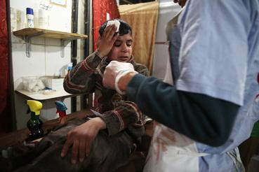 A 12 éves Ghaith a bombázások közben sebesült meg Jisreenben, ahonnan egy szomszédos falu kórházába szállították.