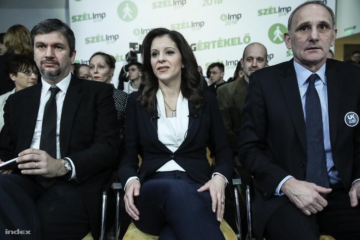 Hadházy Ákos, Szél Bernadett, az LMP elnöke és Gémesi György, az Új Kezdet párt vezetője a Lehet Más a Politika évértékelő rendezvényén 2018. február 17-én