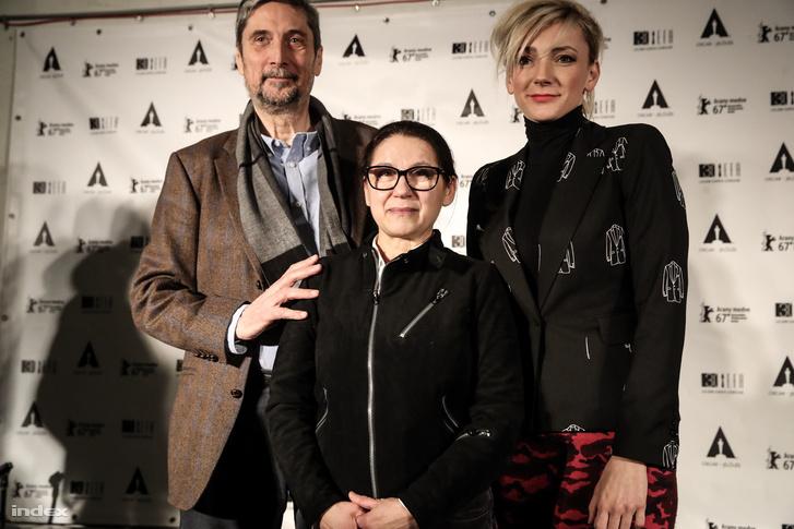 Morcsányi Géza, Enyedi Ildikó és Borbély Alexandra az Oscar-jelölés után tartott sajtótájékoztatón