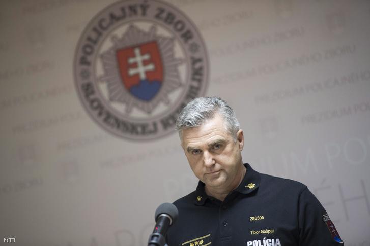 Tibor Gaspar szlovák országos rendőrfőkapitány nyilatkozott a sajtónak Ján Kuciak szlovák tényfeltáró újságíró meggyilkolása ügyében Pozsonyban 2018. február 28-án.