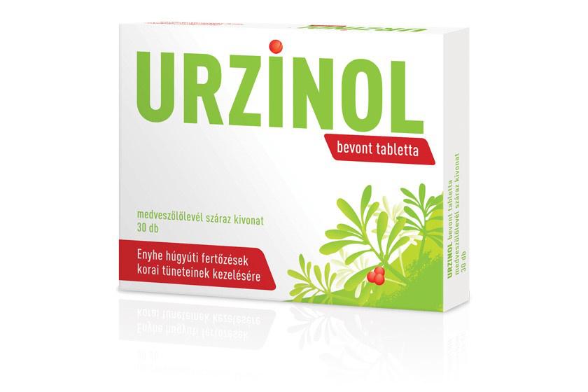 Vény nélkül kapható hagyományos növényi gyógyszer.                         Az Urzinol bevont tabletta medveszőlőlevél-kivonatot tartalmaz.