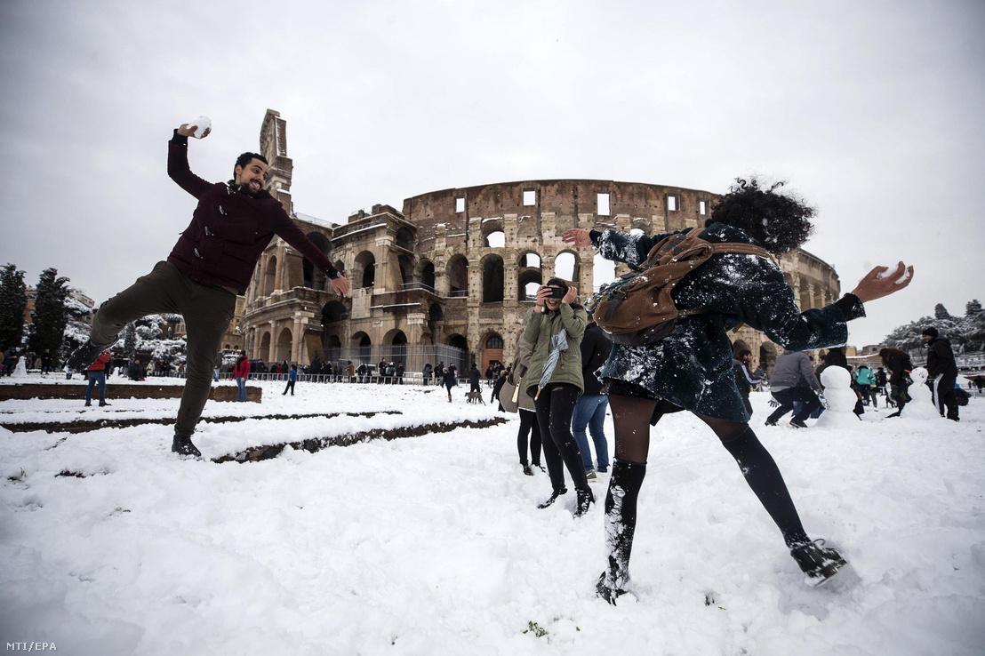 Szokatlan időjárás Rómában